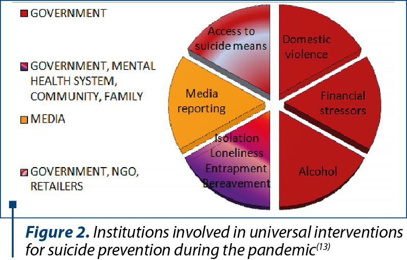 Figure 2. Institutions involved in universal interventions for suicide prevention during the pandemic(13)
