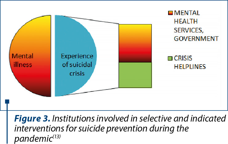 Figure 3. Institutions involved in selective and indicated interventions for suicide prevention during the pandemic(13)